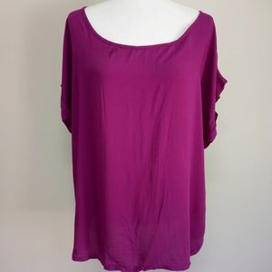 Bright Purple Quarter Zip Back Rolled sleeve top